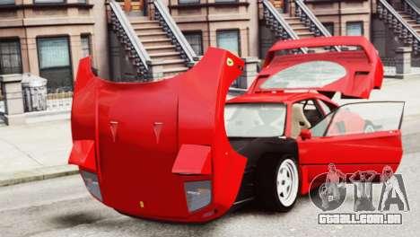 Ferrari F40 1987 para GTA 4 vista de volta