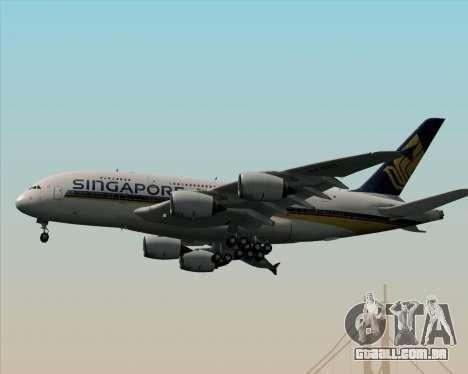 Airbus A380-841 Singapore Airlines para vista lateral GTA San Andreas
