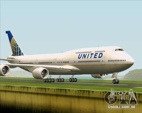 Boeing 747-8 Intercontinental United Airlines para GTA San Andreas esquerda vista