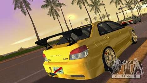 Subaru Impreza WRX STI 2006 Type 4 para GTA Vice City vista traseira esquerda