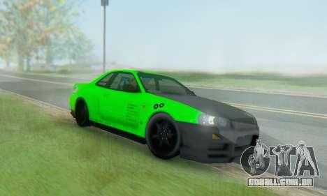 Nissan Skyline GT-R 34 para GTA San Andreas vista traseira