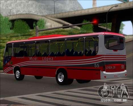 Neobus Spectrum Linea 38 Mcal. Lopez para GTA San Andreas traseira esquerda vista