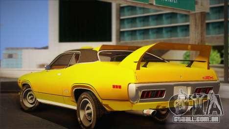 Plymouth GTX Tuned 1972 v2.3 para GTA San Andreas traseira esquerda vista