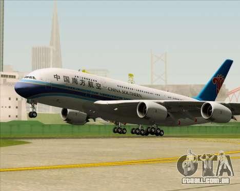 Airbus A380-841 China Southern Airlines para GTA San Andreas vista traseira