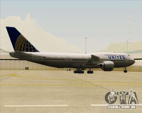 Boeing 747-8 Intercontinental United Airlines para GTA San Andreas vista traseira
