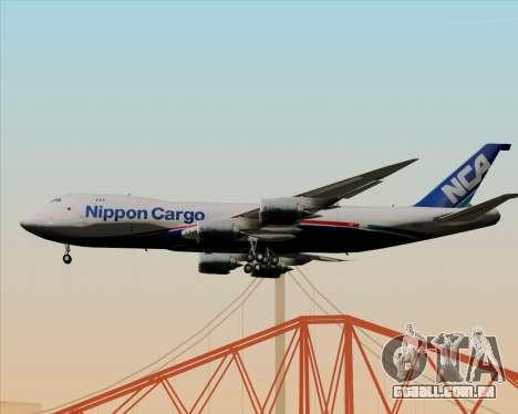 Boeing 747-8 Cargo Nippon Cargo Airlines para GTA San Andreas traseira esquerda vista