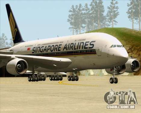 Airbus A380-841 Singapore Airlines para GTA San Andreas esquerda vista