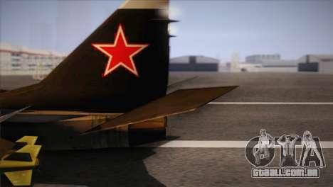 MIG 29 Russian Air Force From Ace Combat para GTA San Andreas traseira esquerda vista