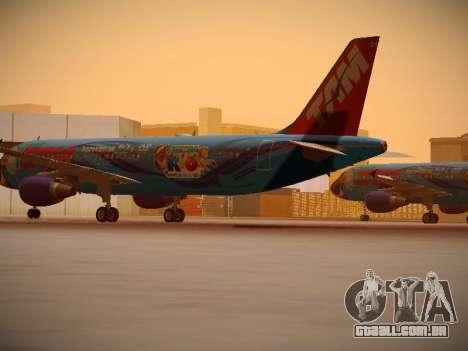 Airbus A320-214 TAM Airlines RIO para GTA San Andreas traseira esquerda vista