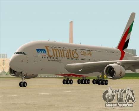 Airbus A380-841 Emirates para GTA San Andreas esquerda vista