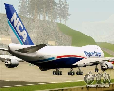 Boeing 747-8 Cargo Nippon Cargo Airlines para GTA San Andreas vista inferior