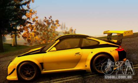 Porsche 911 GT3 R 2009 Black Yellow para GTA San Andreas vista traseira