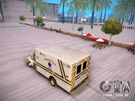 Pierce Commercial Grasonville Ambulance para GTA San Andreas traseira esquerda vista