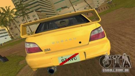 Subaru Impreza WRX 2002 Type 1 para GTA Vice City vista direita