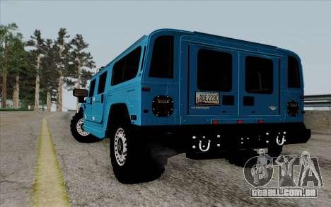 Hummer H1 Alpha 2006 Road version para GTA San Andreas traseira esquerda vista