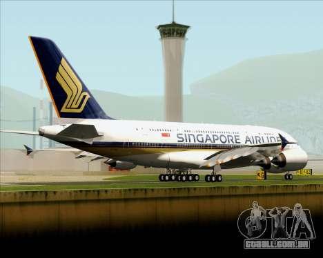 Airbus A380-841 Singapore Airlines para GTA San Andreas traseira esquerda vista