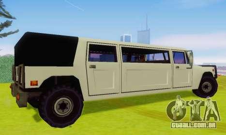 Patriot Limousine para GTA San Andreas traseira esquerda vista