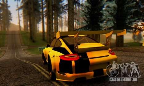 Porsche 911 GT3 R 2009 Black Yellow para GTA San Andreas vista direita