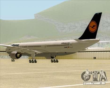 Airbus A330-300 Lufthansa para GTA San Andreas vista traseira