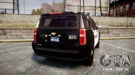 Chevrolet Tahoe 2015 LCPD [ELS] para GTA 4 traseira esquerda vista