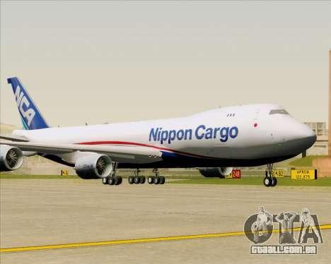 Boeing 747-8 Cargo Nippon Cargo Airlines para GTA San Andreas vista traseira