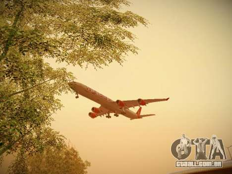 Airbus A340-600 Virgin Atlantic New Livery para GTA San Andreas vista interior