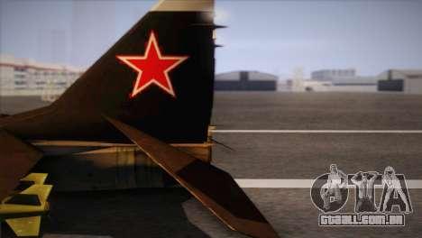 MIG 29 Russian Air Force From Ace Combat para GTA San Andreas vista direita