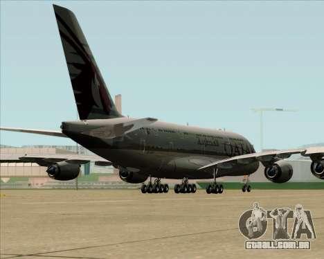 Airbus A380-861 Qatar Airways para GTA San Andreas traseira esquerda vista