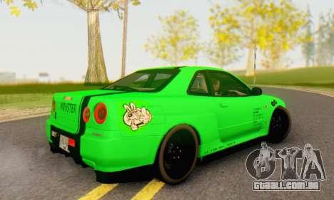 Nissan Skyline GT-R 34 para GTA San Andreas esquerda vista