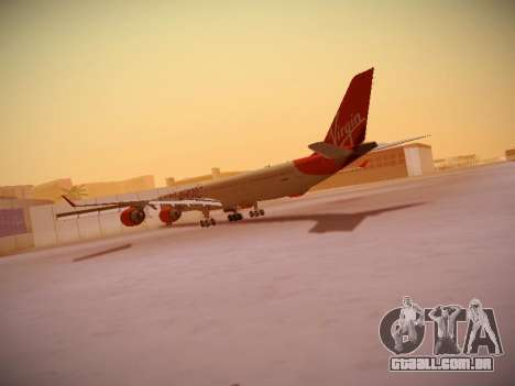 Airbus A340-600 Virgin Atlantic New Livery para GTA San Andreas traseira esquerda vista
