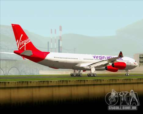 Airbus A340-313 Virgin Atlantic Airways para GTA San Andreas traseira esquerda vista
