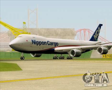 Boeing 747-8 Cargo Nippon Cargo Airlines para GTA San Andreas esquerda vista