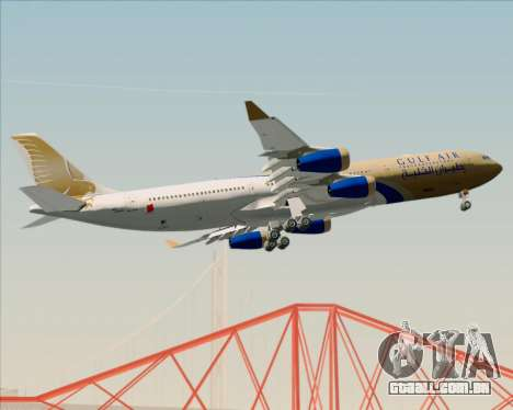 Airbus A340-313 Gulf Air para vista lateral GTA San Andreas