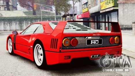 Ferrari F40 1987 para GTA 4 esquerda vista