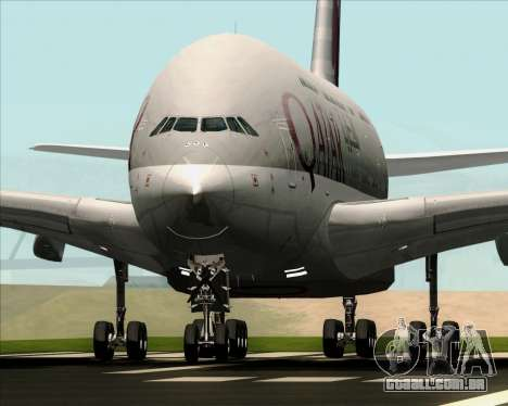 Airbus A380-861 Qatar Airways para GTA San Andreas vista traseira