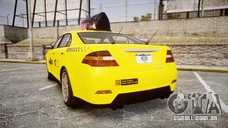 GTA V Vapid Taurus Taxi LCC para GTA 4 traseira esquerda vista