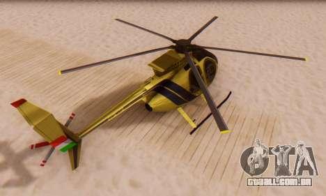 O MD500E helicóptero v2 para GTA San Andreas vista direita