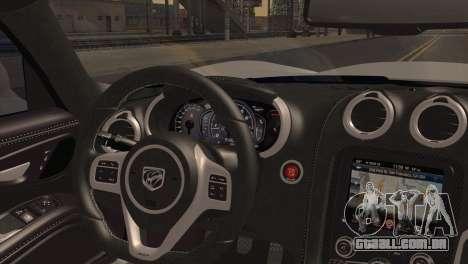 Dodge SRT Viper GTS 2012 para GTA San Andreas traseira esquerda vista