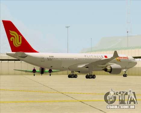 Airbus A330-200 Air China para GTA San Andreas traseira esquerda vista