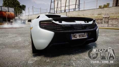 McLaren 650S Spider 2014 [EPM] KUMHO para GTA 4 traseira esquerda vista