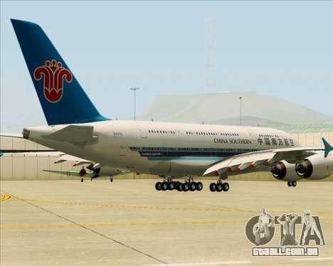 Airbus A380-841 China Southern Airlines para GTA San Andreas traseira esquerda vista