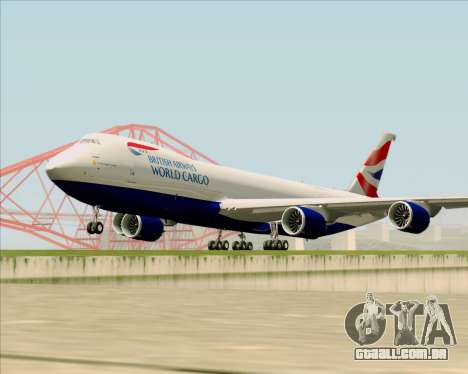 Boeing 747-8 Cargo British Airways World Cargo para GTA San Andreas esquerda vista