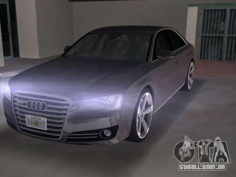 Audi A8 2010 W12 Rim3 para GTA Vice City vista traseira esquerda