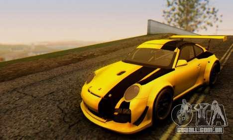Porsche 911 GT3 R 2009 Black Yellow para GTA San Andreas esquerda vista