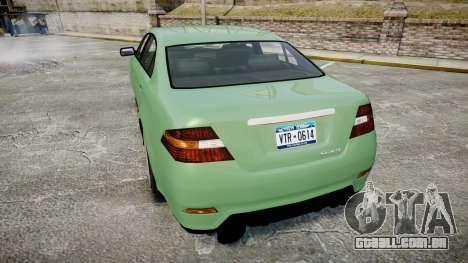 GTA V Vapid Taurus para GTA 4 traseira esquerda vista
