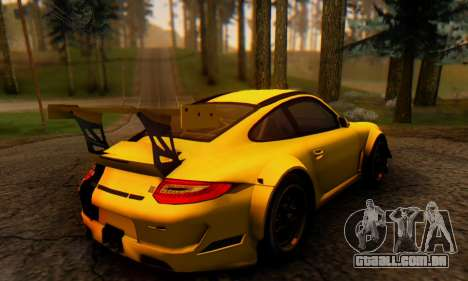 Porsche 911 GT3 R 2009 Black Yellow para GTA San Andreas traseira esquerda vista