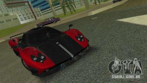 Pagani Zonda Cinque para GTA Vice City vista traseira esquerda