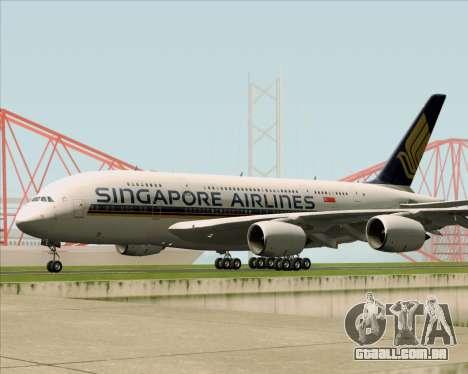 Airbus A380-841 Singapore Airlines para GTA San Andreas vista traseira