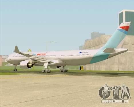 Airbus A330-300 Air Inter para GTA San Andreas traseira esquerda vista