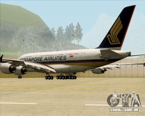 Airbus A380-841 Singapore Airlines para GTA San Andreas vista direita
